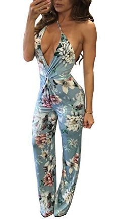 0668186f71ad Evesymil Women Spaghetti Strap Plunge V Neck Backless Floral Wide Leg  Clubwear Jumpsuit Rompers