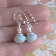 Light Blue Green Amazonite Swarovski Glass White Pearl Sterling Silver Earrings DJStrang Drop Dangle Boho Chic