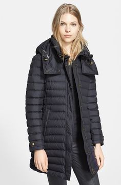 Burberry Brit 'Colbrooke' Channel Quilt Down Coat with Hood available at #Nordstrom