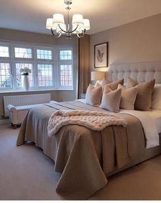 Sweet Master Bedroom Decor Ideas and Remodel ~ Beautiful House Tan Bedroom, White Bedroom Furniture, Room Ideas Bedroom, Master Bedroom Design, Cozy Bedroom, Bedroom Colors, Dream Bedroom, Home Decor Bedroom, Modern Bedroom
