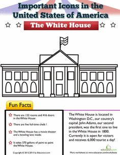 The White House in Washington D. is one of many American symbols for kids to learn about. This worksheet gives some funny facts about the presidential residence. Check it out! Kindergarten Social Studies, Social Studies Worksheets, Teaching Social Studies, Worksheets For Kids, Art Worksheets, Teaching History, Patriotic Words, Patriotic Symbols, First Grade Projects