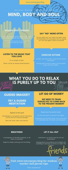 Stress-Relief Ideas for the Mind, Body and Soul Body And Soul, Stress Relief, Letting Go, No Worries, Relax, Mindfulness, Social Media, Exercise, Let It Be