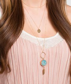 Gold Druzy Necklace Long Feather Necklace Layering Necklace