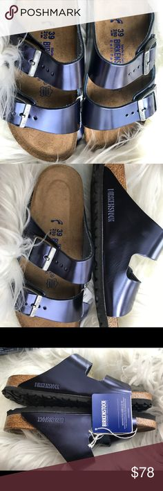 BNWT Birkenstock Sapphire 39 N Originally $135  Brand new with tags and box. Box might not be in perfect shape due to handling.  All items are inspected throughly and filmed before shipment.  Size 39 Narrow width. Soft Footbed  No returns so please know your size in Birks before ordering. I can only guarantee I will be sending the European size stated on the listing. Sorry, No free shipping unless otherwise stated. Price is Firm  Thanks! Birkenstock Shoes Sandals