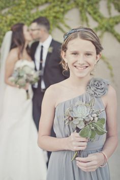 sweet Jr. Bridesmaid dress and succulent bouquetr