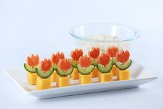 Made Super Mario World Fire Flower Appetizers with the homemade Spicy Veggie Dip! Cute Food, Good Food, Yummy Food, Party Buffet, Food Decoration, Food Humor, Appetisers, Party Snacks, High Tea