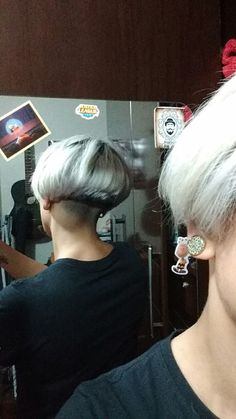 Undercut shaved nape shorthair
