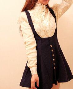 Japanese kawaii restoring ancient ways of tall waist suspenders skirts
