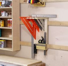 Woodworking Shop How To Make A French Cleat Square Holder – Jays Custom Creations Garage Tool Storage, Workshop Storage, Workshop Organization, Garage Tools, Home Workshop, Garage Workshop, Garage Shop, Workshop Ideas, Workbench Organization