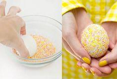 Украшение пасхальных яиц кондитерской посыпкой