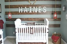 Wood Accent Wall in this Rustic Alaska Inspired Nursery - perfect baby boy nursery!