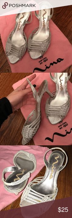 Nina Cyrus Silver fishnet heel Beautiful Nina Cyrus silver fishnet heel in USA size 7. They have no rips or stains anywhere. In perfect condition. Makes a great party shoe. If you want more pictures, don't hesitate to ask me. Nina Shoes Heels