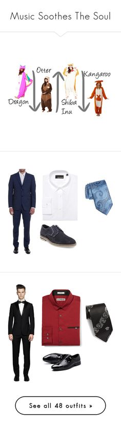 """Music Soothes The Soul"" by dollydolphin on Polyvore featuring pajamas, kigurumi, Bespoken, Steve Madden, Ermenegildo Zegna, men's fashion, menswear, dressy, Blue and Suits"