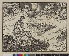 Edward Burne-Jones - A woman sitting on an island in a turbulent sea swirling around rocks, with a sailing boat in the distance; illustration to the Kelmscott Chaucer, 'The Franklin's Tale'; proof. 1896  Wood-engraving