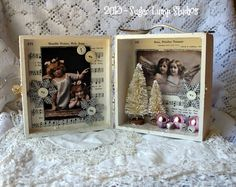 Whimsical Angels Christmas Shadow Box with Bottle Brush trees and sparkling embellishments OOAK
