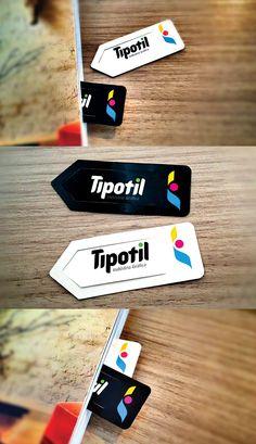Redesenho de marca, identidade visual e desenvolvimento de marcador de páginas para a gráfica Tipotil, de Timbó, Santa Catarina.
