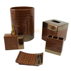 Simple Bathroom Set Accessories With Brown Color And Box Form