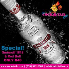 Smirnoff 1818 & Red Bull only We are always running new specials on drinks, cocktails and meals. The latest addition to the specials list is an ice cold Smirnoff 1818 an… Vodka Drinks, Fun Drinks, Cocktails, Martinis, Coconut Cupcakes, Triple Sec, Coconut Rum, Schnapps, Smirnoff