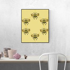This beautiful bee hexagon art print is a beautiful blend of natural colour, symmetry and design, with the bees forming their iconic hexagon shape. Nature Posters, Hexagon Shape, Kids Bedroom, Bees, House Design, Shapes, Colour, Art Prints, Natural