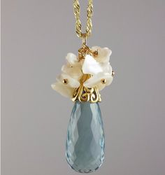 Faceted Brazilian Blue Quartz Pendant with Mother of Pearl