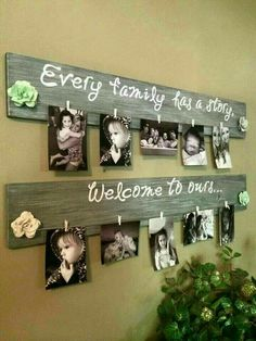 Dreamy Bathroom & Kitchen Remodel Ideas Is a Must in Summer Homes DIY Family Photo Wall Hanging….Every Family Has a Story, Welcome to Ours! Such a great idea! The Best of home decor ideas in Home Crafts, Diy Home Decor, Diy And Crafts, Cadre Photo Diy, Wood Projects, Woodworking Projects, Diy Projects Cans, Pallet Pictures, Palette Diy