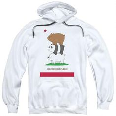 We Bare Bears Cali Stack Adult White Hoodie