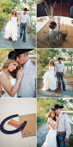 Groom wears work jeans and cowboy boots and hat!!!!!! If he was actually a cowboy I would sooo be down with this wedding!