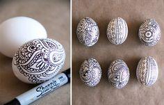 Sharpie doodle eggs