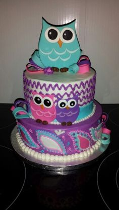 Owl themed first birthday cake with matching cupcakes Hand cut