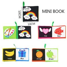 Soft Cloth Books for Toddler Newborn Early Learning Puzzle Book Toys - Color Cognition