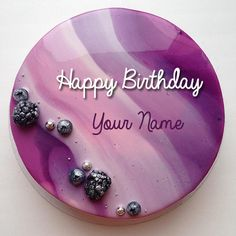 Write Name on Blueberry Soured Cream Birthday Cake