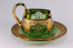 Bohemian-Glass-Gold-Floral-Gold-Gilt-Green-Emerald-Pinched-Cup-and-Saucer