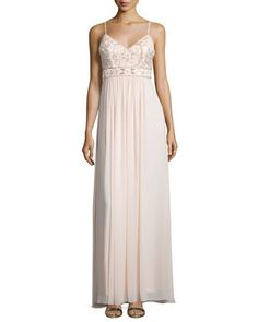 Sleeveless+Embellished-Bodice+Gown,+Blush+by+Sue+Wong+at+Neiman+Marcus.