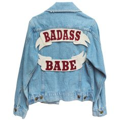 Badass Babe Denim Jacket (195 CAD) ❤ liked on Polyvore featuring outerwear, jackets, tops, coats, denim jacket, cotton jean jacket, blue jean jacket, blue jackets and cotton jacket