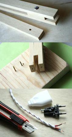 fabriquer lampe bois