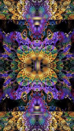 Kaleidoscope: Each tiny section fits so perfectly and serenely. nothing out of place, nothing in dissention mode. The color of kings seems to radiate around and within: shades of purple, blues, touches of beige and aquamarine. And: it all fits. Fractal Design, Fractal Images, Fractal Art, Psychedelic Art, Shades Of Purple, Purple Yellow, Optical Illusions, Sacred Geometry, Amazing Art