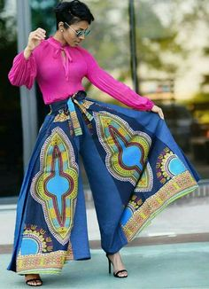In love with these wise leg dashiki print pants! African Attire, African Wear, African Fashion Dresses, African Women, African Dress, Afro, Boho Fashion, Womens Fashion, Fashion Trends