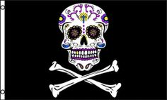 Pirate Sugar Skull Crossbones Flag 3x5 Mexican Day of the Dead Mexico Halloween