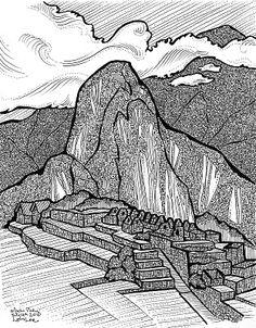 Machu Picchu drawing by Laura Lee