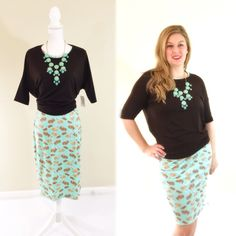 Worried about too much pattern? Ease in to it with a Irma worn over a Julia dress! Mix and match your collection! LuLaRoe bunny Julia with tied Irma tunic.