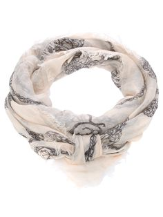 alexander mcqueen nude scarf, skull print, frayed edge