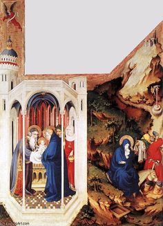 'The Dijon Altarpiece (Detail)' by Melchior Broederlam (1350-1409, Belgium) ---Brought new aspects of dimensionality and perspective by using two point perspective on architectural settings to create depth in the painting. The paintings has given extra dynamic view. (however, lines are not correct that all the lines re converged in different places creating more than 2 vanishing points.)