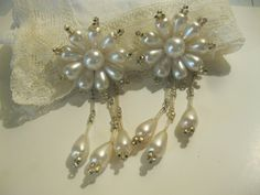 Vintage Bridal Faux Teardrop Pearl Dangle Earrings. $24.00, via Etsy.