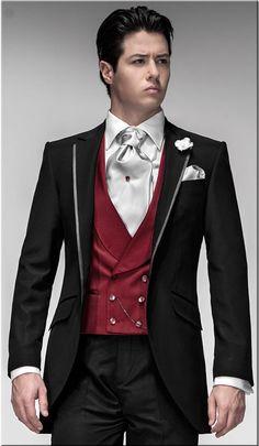 Black wedding tuxedo for men /Prom suit 3 pieces set include(jacket+vest +Pants)-in
