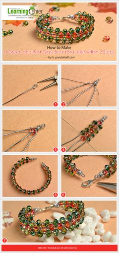 Beginners' DIY Project - How to Make a Green and Red Glass Bead Bracelet within 2 Steps from LC.Pandahall.com