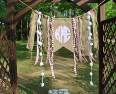 Ridiculously cute... for a party or for a bedroom // Circle Monogram Birthday Banner/Photo by rockabyebabystore on Etsy, $32.00
