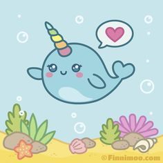 Baby Animal Drawings, Cartoon Drawings Of Animals, Cute Animal Drawings Kawaii, Kawaii Drawings, Cartoon Pics, Cute Cartoon Wallpapers, Kawaii Narwhal, Cute Narwhal, Cute Whales