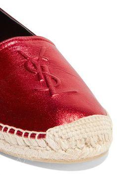 Saint Laurent - Metallic Leather Espadrilles - Red - IT