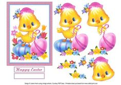 """Springtime Easter Chick Decoupage Card on Craftsuprint designed by Julene Harris - An adorable little Easter chick is decorating her Easter Eggs on this card front with decoupage. Beautiful vintage artwork. Labels included: """"Happy Easter"""" and one blank label you can customize. Please click on my name to view more of my designs. - Now available for download!"""