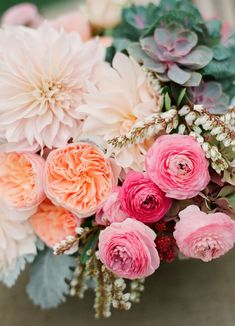 We are LOVING this gorgeous heirloom bouquet. The colors combined with succulents make this a bouquet for all seasons. Image from Beaux Arts Photographie on Kelly Oshiro. See more bouquets and tips on Lover.ly